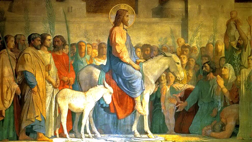 """And throwing their garments on the colt they set Jesus upon it. And as he rode along, they spread their garments on the road. As he was now drawing near, at the descent of the Mount of Olives, the whole multitude of the disciples began to rejoice and praise God with a loud voice for all the mighty works that they had seen, saying, """"Blessed is the King who comes in the name of the Lord! Peace in heaven and glory in the highest!"""""""