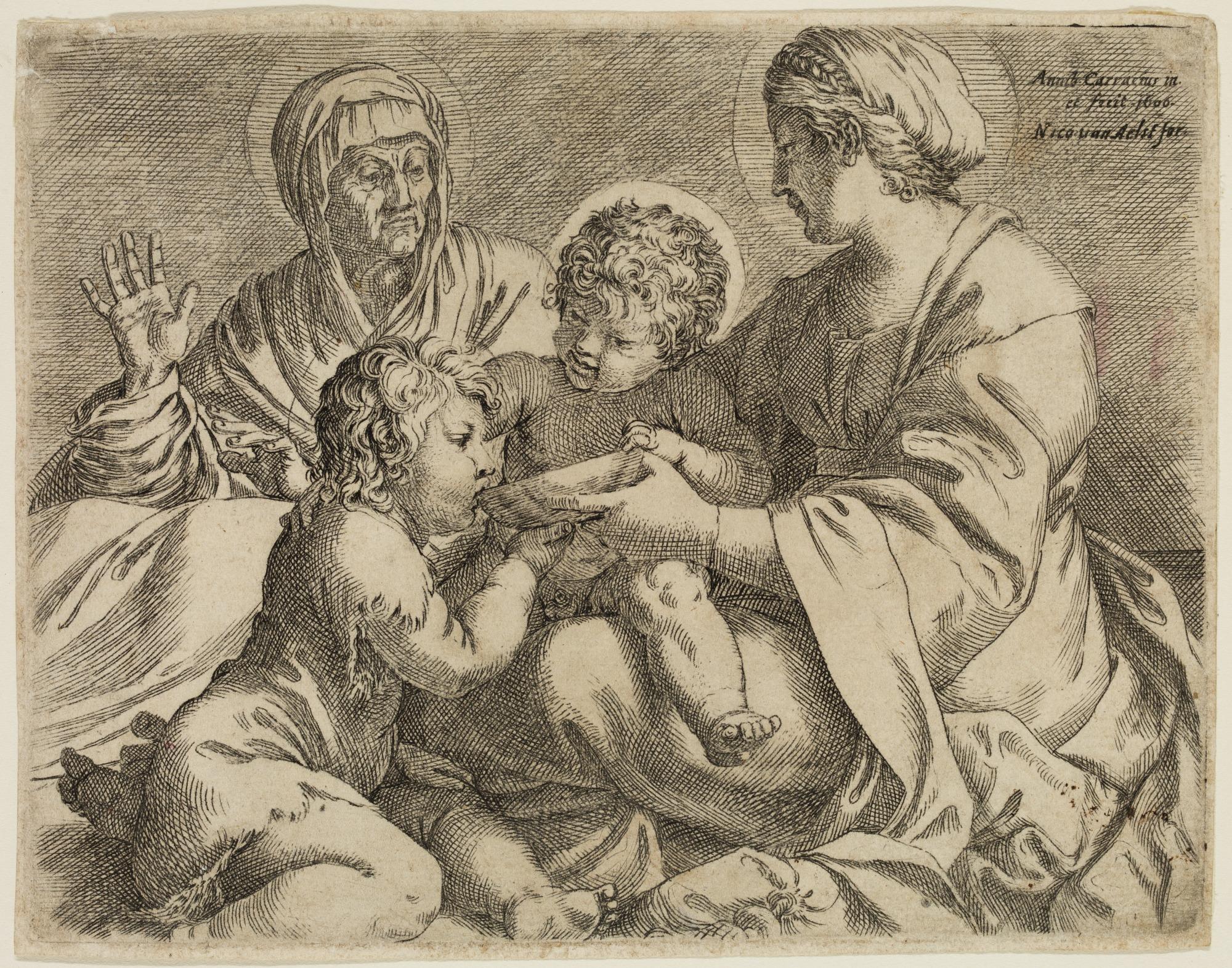 Madonna and Child with Saints Elizabeth and John the Baptist (La Madonna della Scodella), 1606, Annibale Carracci