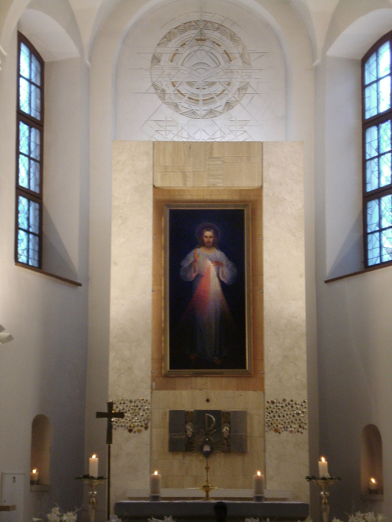 image: the original Divine Mercy painting, now in the Divine Mercy Sanctuary of Vilnius, Lithuania.