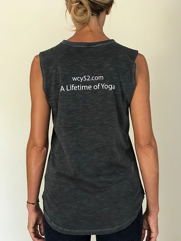 Back view of Wendy Campbell Yoga logo t-shirt