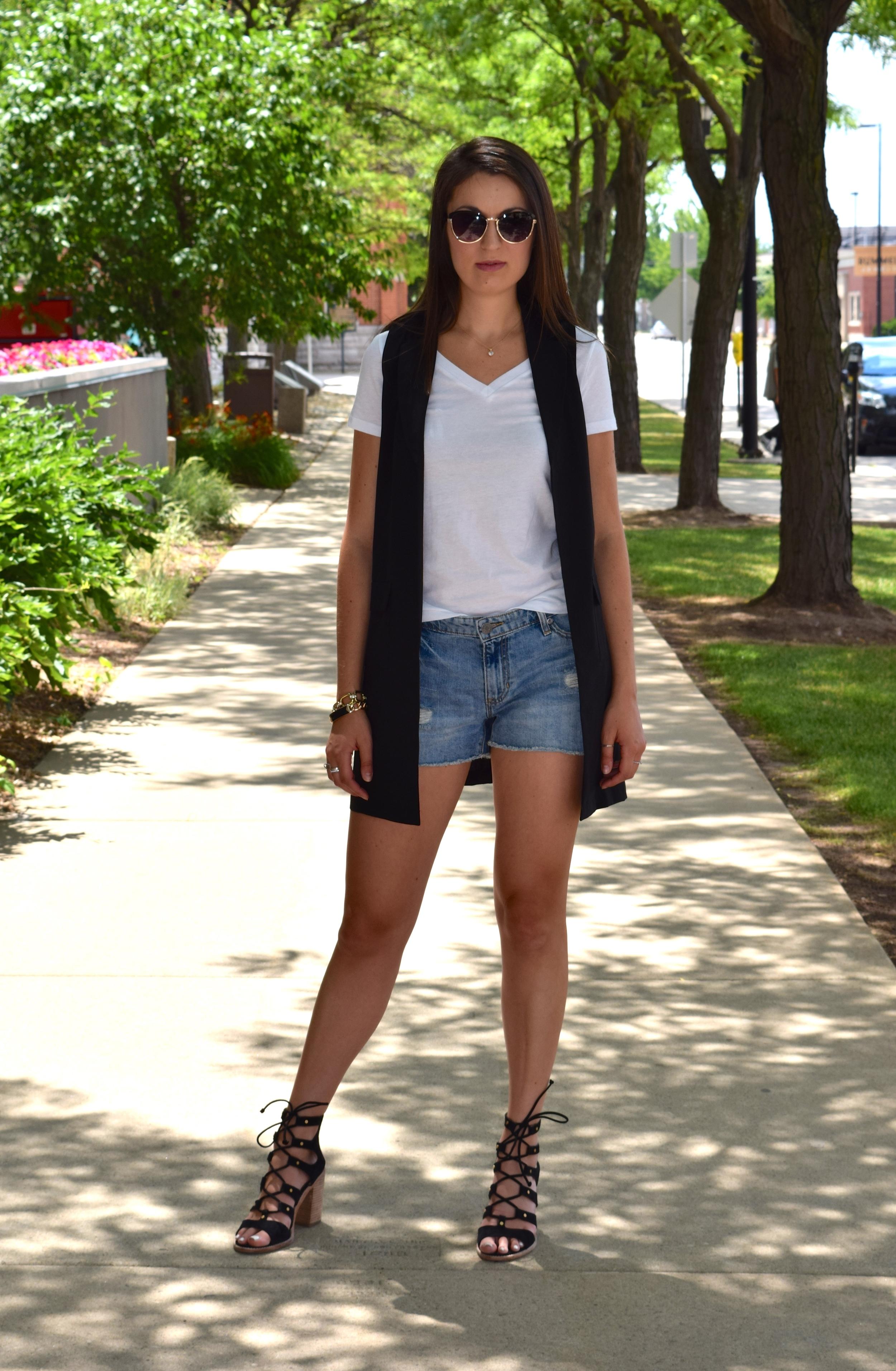Jean shorts and maxi vest