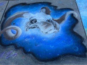 chalk art of a ram