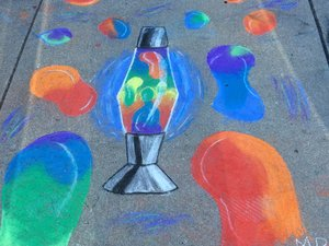 a chalk art of a lava lamp