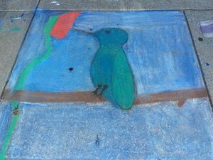 a chalk art of a hummingbird