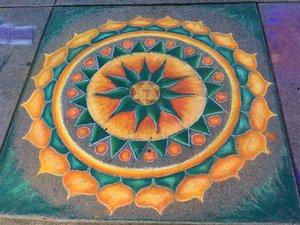 a mosaic chalk art design