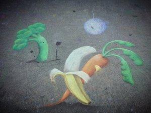 chalk art of vegetables