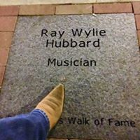 Ray Wylie Hubbard and his boot, as he stepped over to view his stone before a gig at Dan's Silver Leaf last year.