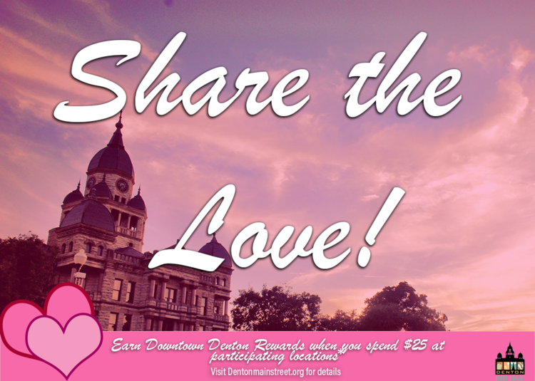 a share the love flyer with the denton courthouse lawn on it