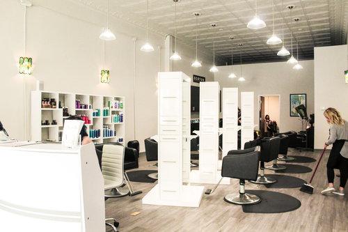 the inside of a hair salon