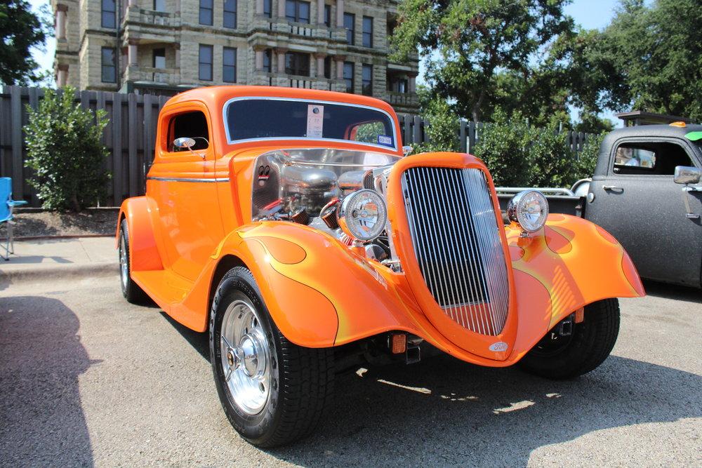 an orange vintage auto