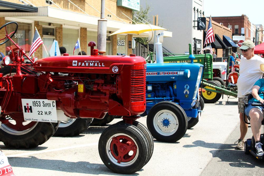 a row of tractors