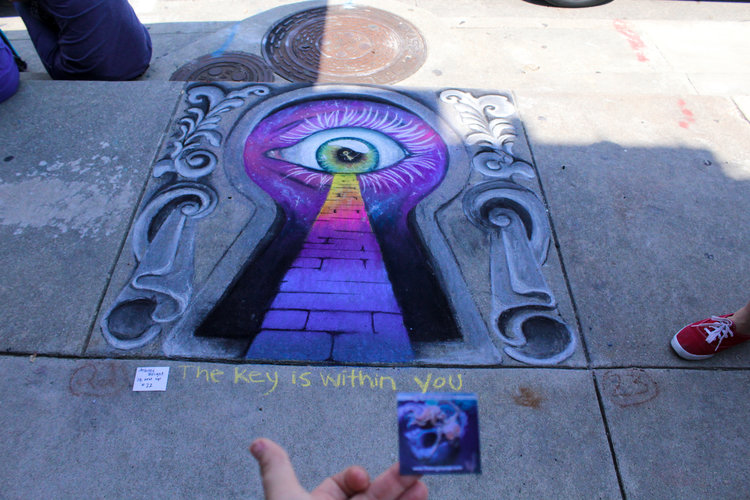 a chalk art design of an eye inside a keyhole-first-prize-2017.jpg