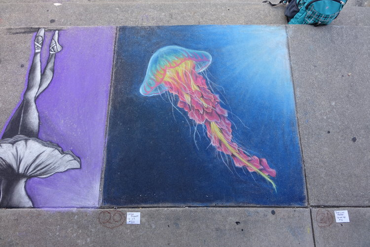 two chalk art designs, one of ballerina legs and one of jellyfish.JPG
