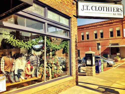 the outside storefront of JT Clothiers in Downtown Denton