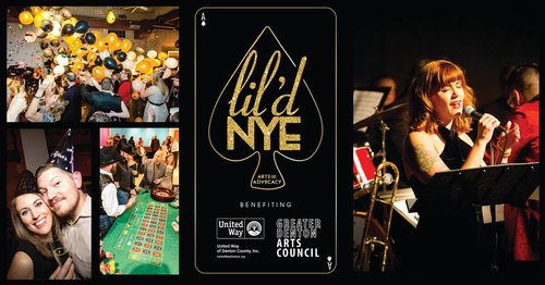 a new year's eve flyer for greater denton arts council with pictures of people celebrating at a casino