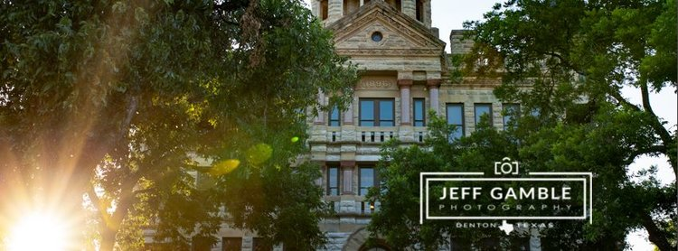 a picture of the downtown denton courthouse with a jeff gamble photography logo on it.