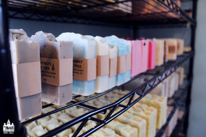 a picture of a row of soap from salted sanctuary soap