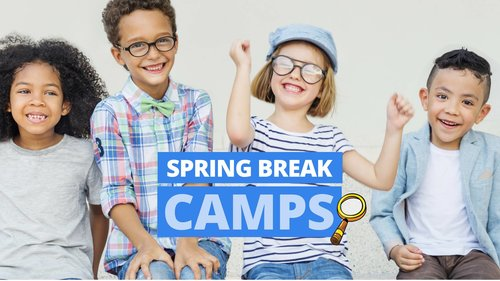 "a picture of children with a sign that says ""spring break camps"""