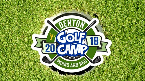 a picture of a lawn with a logo over it for the denton parks and rec golf camp
