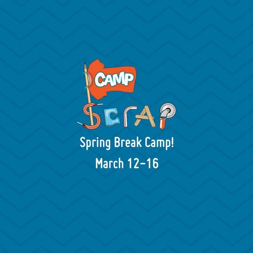 a blue flier with camp scrap spring break camp march 12-16