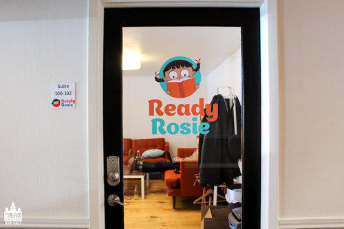a picture of a door with a ready rosie logo on it