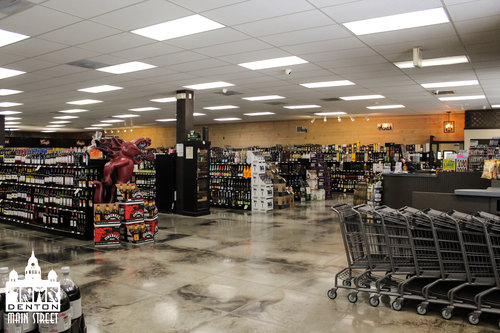 a picture of the inside of the liquor store
