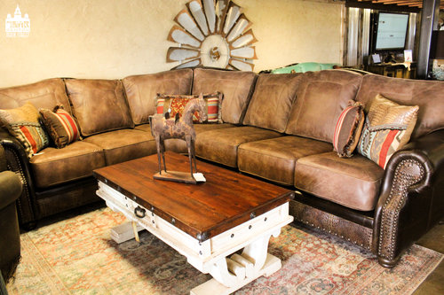 a picture of brown leather furniture set