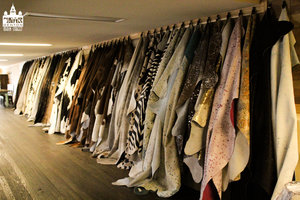 a row of a selection of tanned cowhide samples