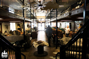 an inside shot of cowhide western furniture store