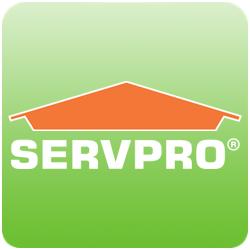 a green and orange servpro logo