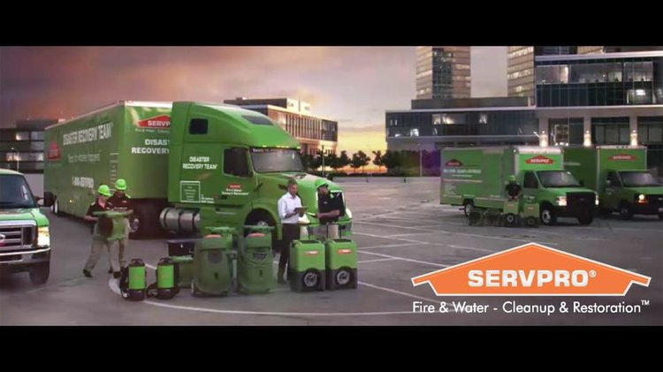 a picture of servpro trucks with people next to it working