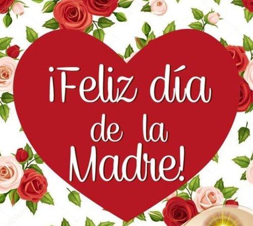 "a denton community market flier with a red heart on it that reads ""feliz de dia de la madre"""