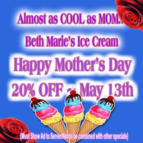 a blue mother's day flier. from beth marie's ice cream with ice cream cones