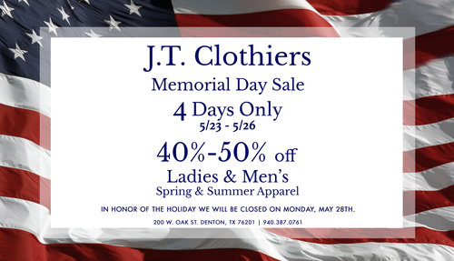 a jt clothier's memorial day flier featuring a 4 day sale of 40-50% off