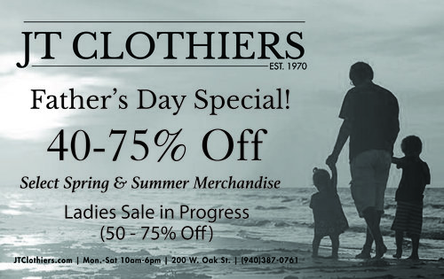 a father's day flier from jt clothiers, featuring some text alerting to 40-75% off and a picture of a father with his two children walking on a beach.