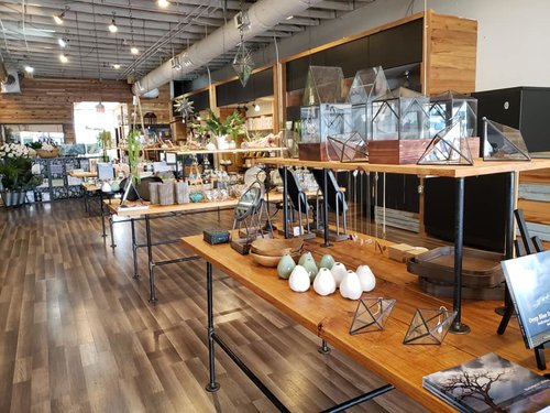 a picture of the inside of a store with rows of tables full of eclectic inventory.