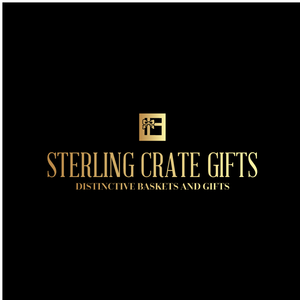 """a black square with gold text that reads """"sterling crate gifts"""""""