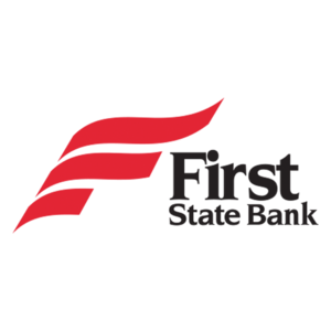 """a logo that reads """"first state bank"""" with a red, flag-like design."""