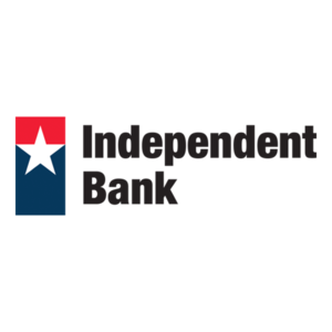 a logo that reads '' independent bank'' with a red, white and blue logo that makes a tall rectangle with a star at the top.