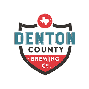 """a denton county brewing company logo design that is red, white and blue in the shape of a shield that reads"""" denton county brewing company''"""