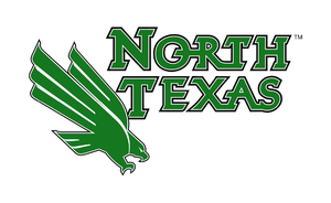 a green north texas athletics logo with an eagle next to it