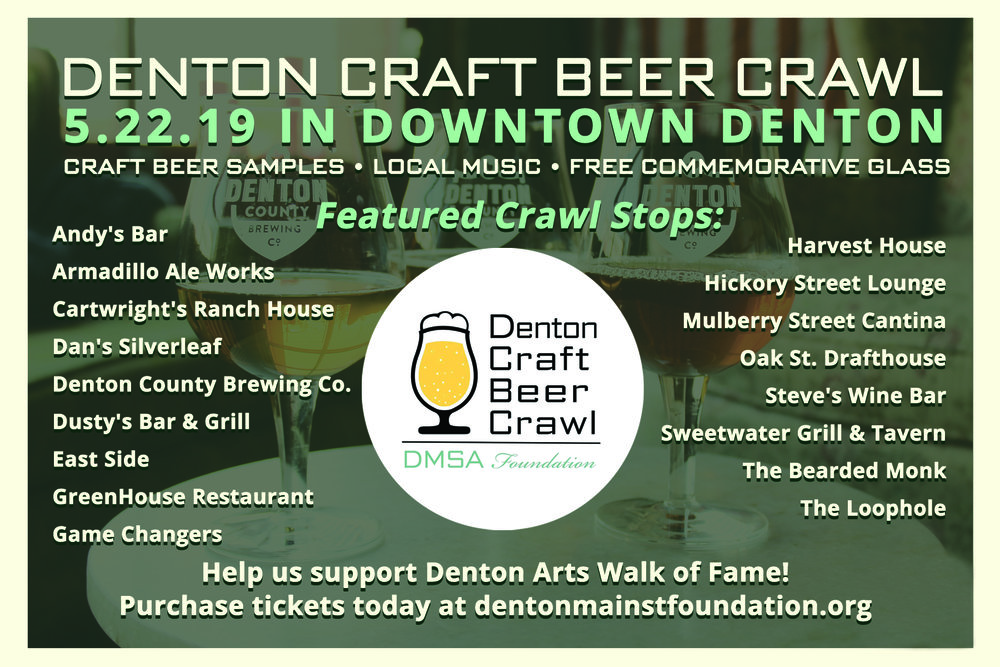craft beer crawl stop lineup with event logo and information to rsvp to the craft beer crawl at dentonmainstfoundation.org