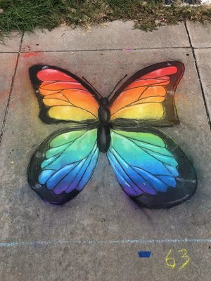an image of a monarch butterfly made from chalk.