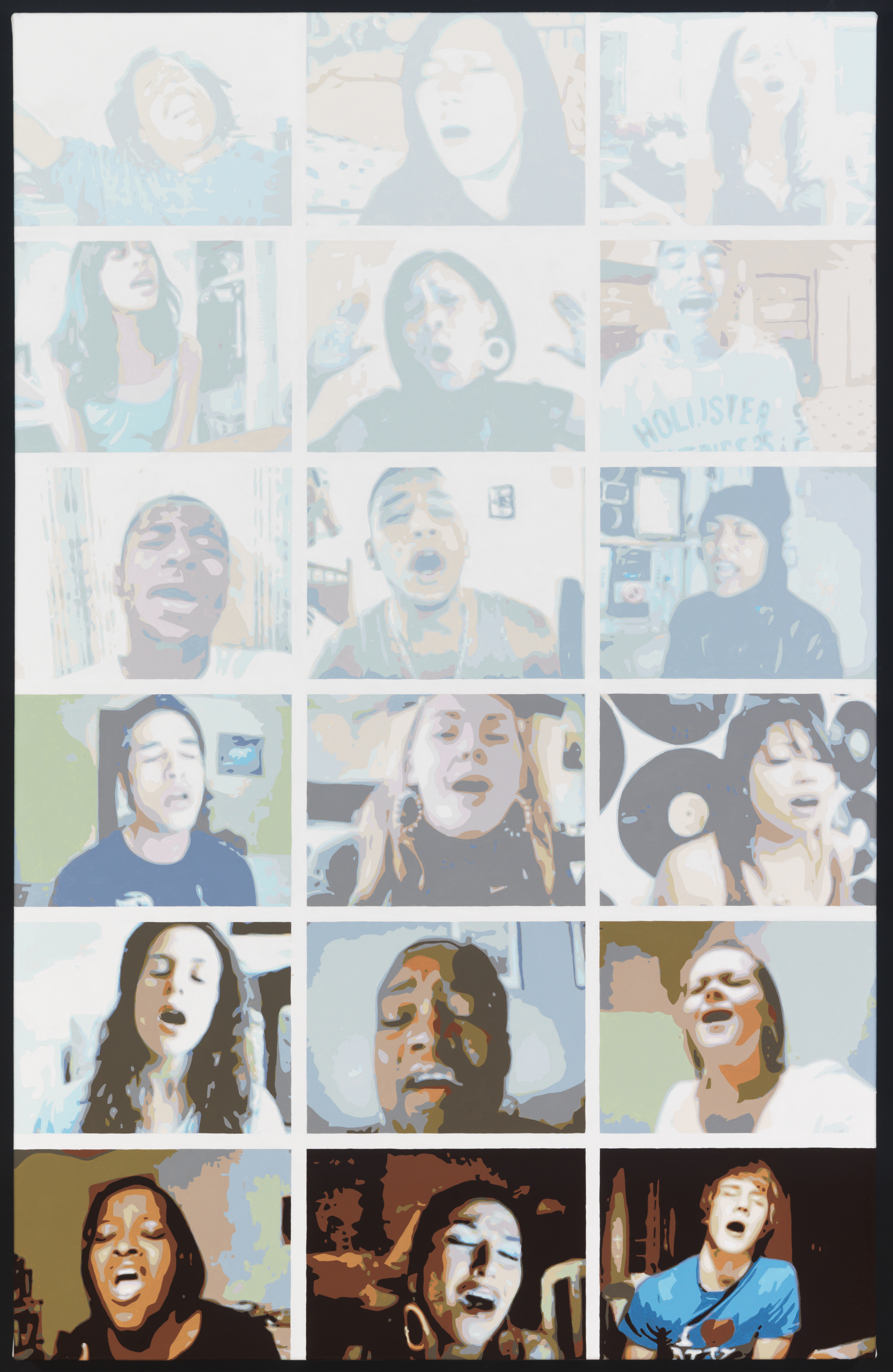 """18 People Covering Alicia Keys' Song """"No One"""", 2008 Oil on Canvas, 56"""" x 36"""""""