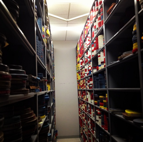 Rooms and shelves full of AL football archives.