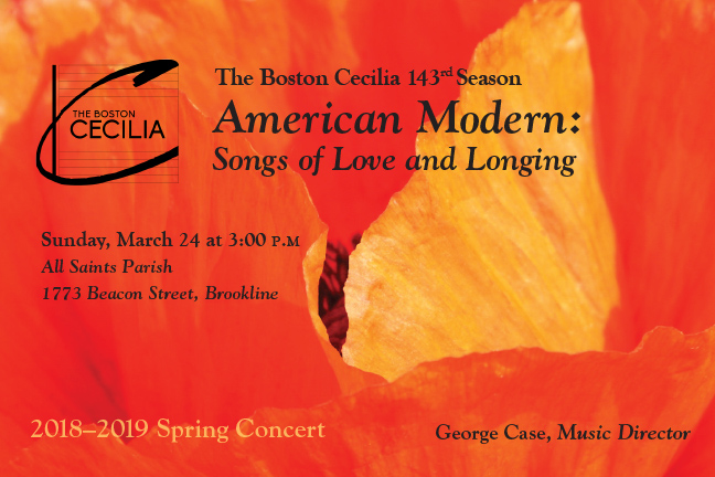 In the final concert of its 2018-2019 season, The Boston Cecilia presents   American Modern: Songs of Love and Longing   featuring acclaimed mezzo-soprano  Margaret Lias  and a seven-piece chamber orchestra to accompany the Cecilia chorus.