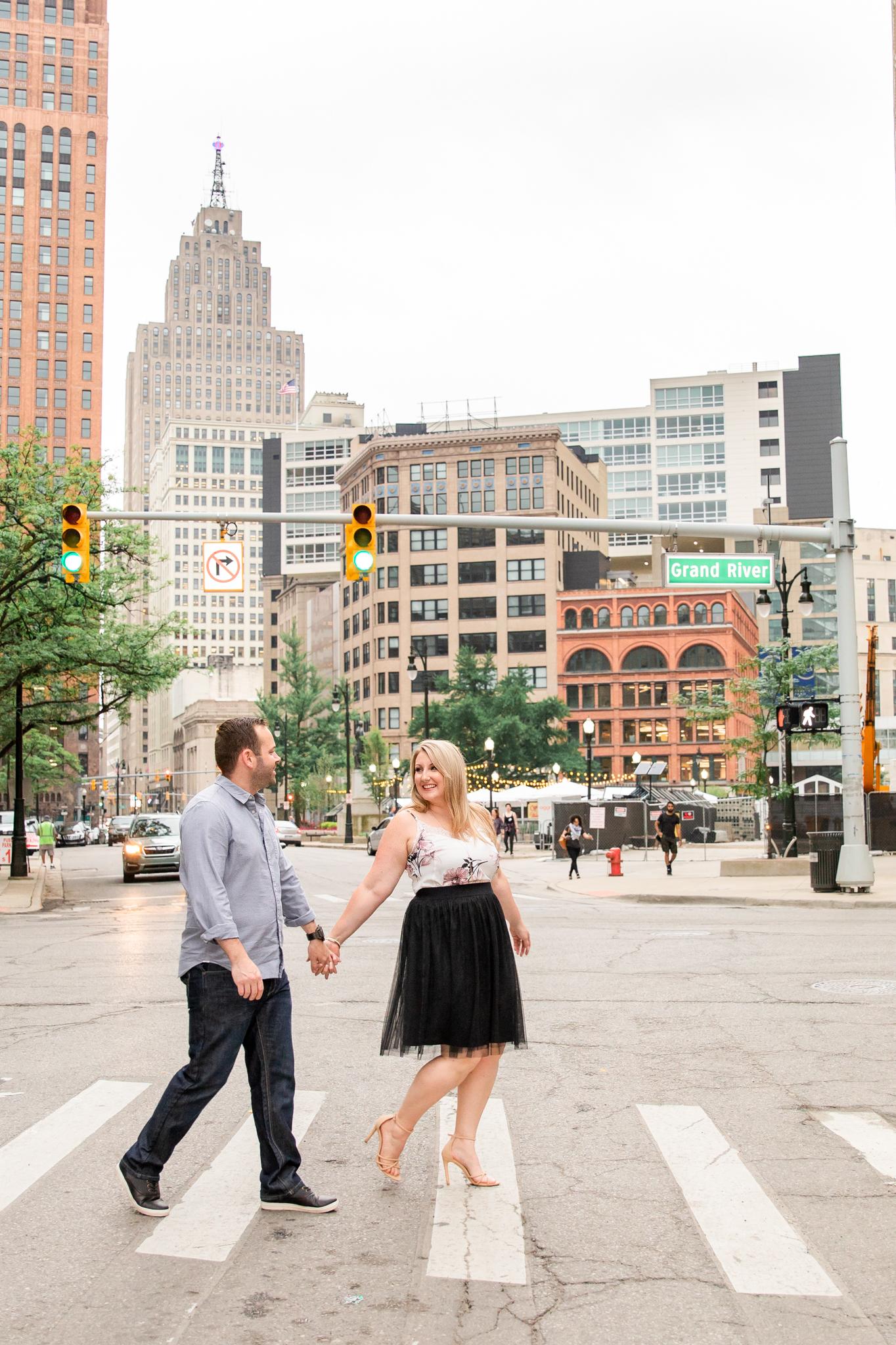 downtown detroit engagement photos session