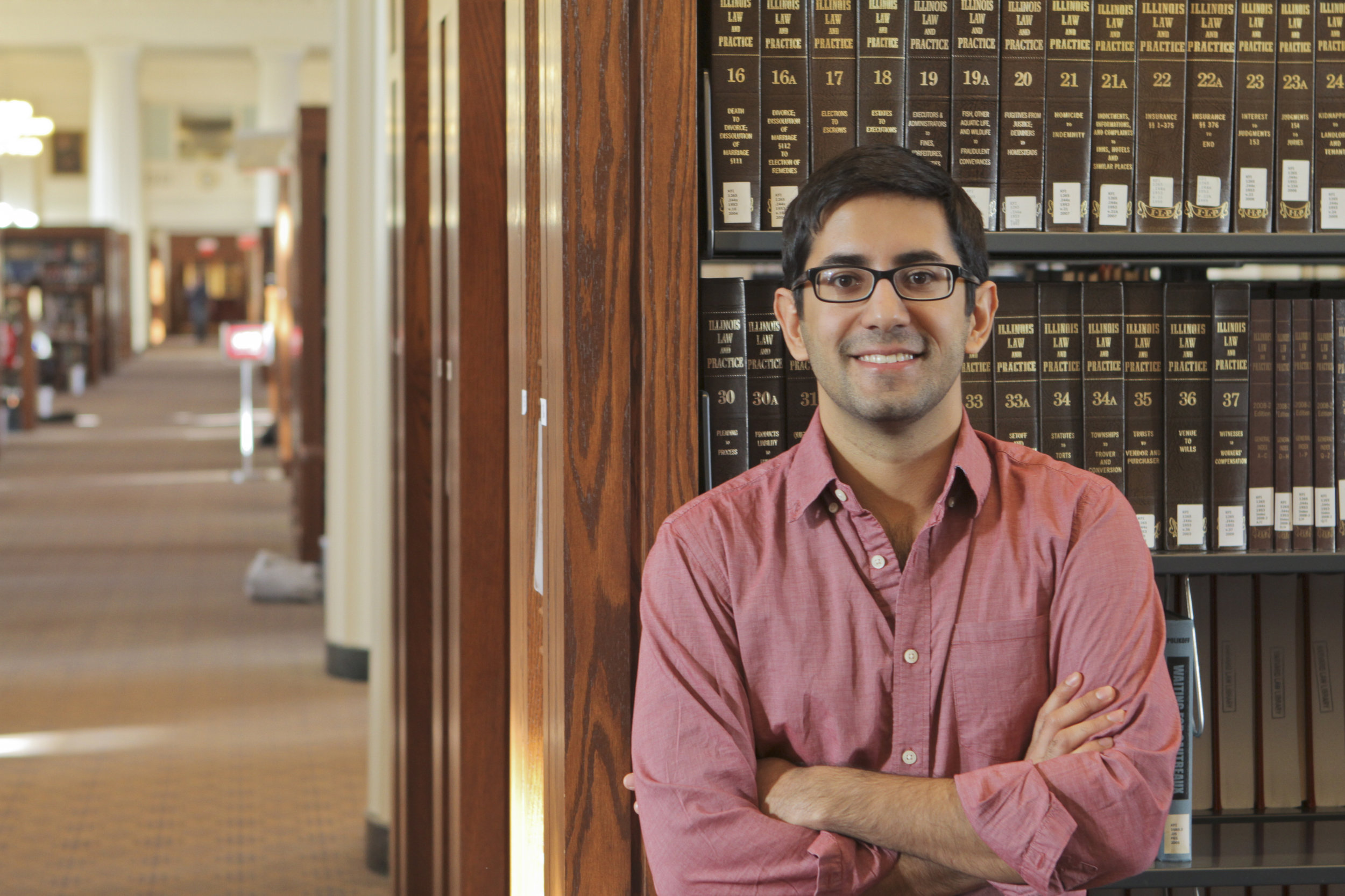 Neil Makhija in the Harvard Law School's Langdell Library. 2015.