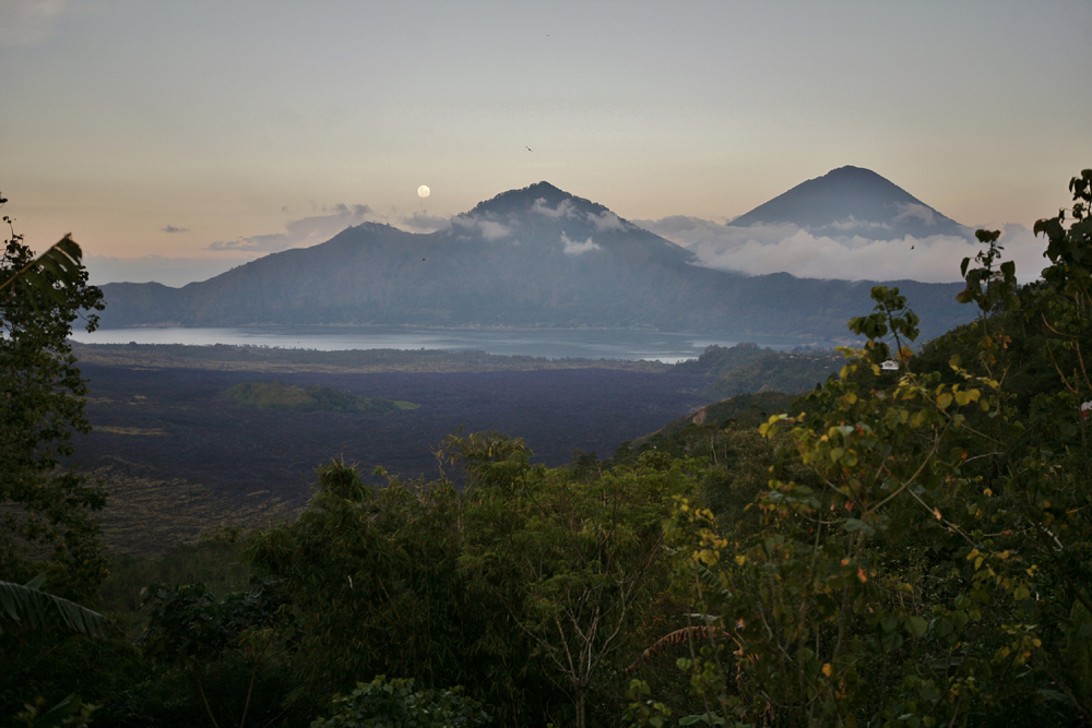 Beautiful Mt. Agung with moon rising up as we were leaving