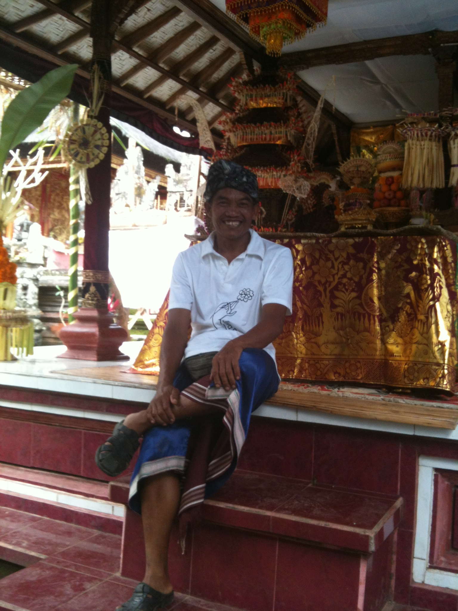 Ketut in front of the altar